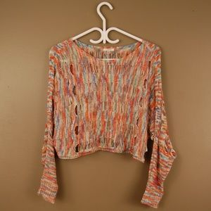 Coral/Multi-Coloured Knit Crop Top